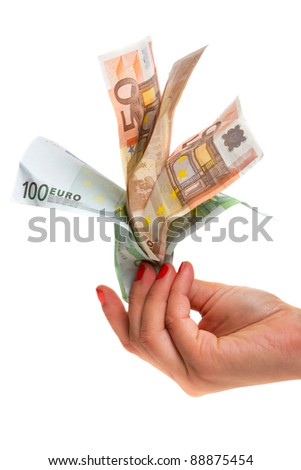 Human hands holding money over white background