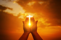 Human hands open palm up worship. Eucharist Therapy Bless God Helping Repent Catholic Easter Lent Mind Pray. Christian Religion concept background.Fighting and victory for god.people prayer at sunset
