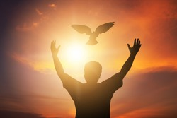Human hands open palm up worship. Eucharist Therapy Bless God Helping Repent Catholic Easter Lent Mind Pray. Christian Religion concept background. fighting and victory for god, Man freedom with dove.