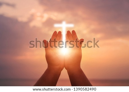 Human hands open palm up worship. Eucharist Therapy Bless God Helping Repent Catholic Easter Lent Mind Pray. Christian Religion concept background. fighting and victory for god #1390582490