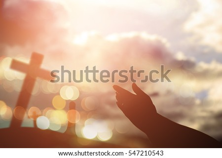 Human hands open palm up worship. Eucharist Therapy Bless God Helping Repent Catholic Easter Lent Mind Pray. Christian Religion concept background. fighting and victory for god - Shutterstock ID 547210543