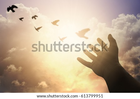 Human hands open palm up worship. Eucharist Therapy Bless God Helping Repent Catholic Easter Lent Mind Pray. Christian concept background. fighting and victory for god #613799951