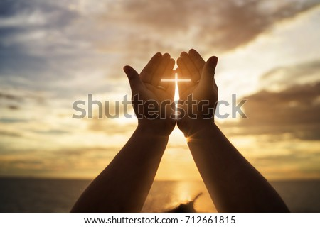 Human hands open palm up worship. Eucharist Therapy Bless God Helping Repent Catholic Easter Lent Mind Pray. Christian concept background. #712661815