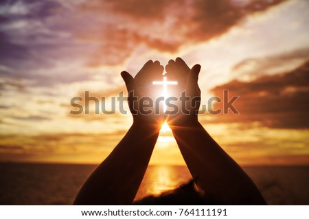 Human hands open palm up worship. Eucharist Therapy Bless God Helping Repent Catholic Easter Lent Mind Pray. Christian Religion concept background. fighting and victory for god - Shutterstock ID 764111191