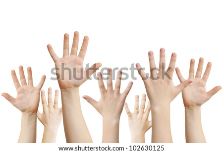 Human hands raised up, isolated on white, clipping path