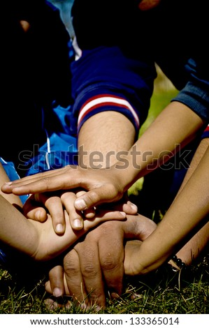 Human hands showing unity