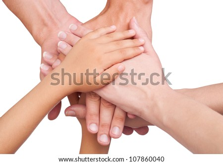 Human hands showing unity. Isolated on white background , with clipping path included