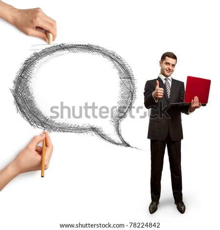 human hands with speech bubble and man