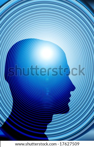 human head against a spiral background, psychology concept