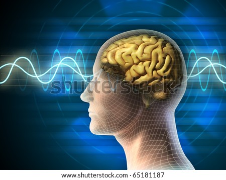 Human head and brain. Different kind of waveforms produced by brain activity shown on background. Digital illustration.