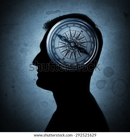 Human head and compass. The concept on the topic of philosophy, psychology, morality, etc. ストックフォト ©