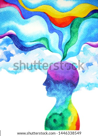human head, chakra power, inspiration abstract thinking inside your mind, watercolor painting