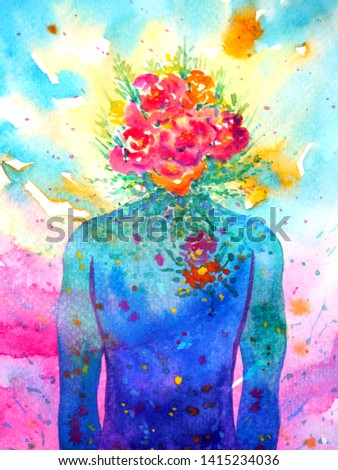 human head, chakra power, inspiration abstract thinking, world, universe inside your mind, watercolor painting
