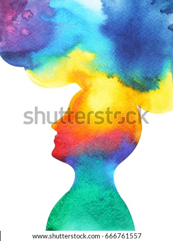 Shutterstock human head, chakra power, inspiration abstract thought, world, universe inside your mind, watercolor painting