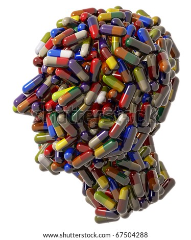 Human head created of medical pills, 3d