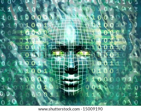 Human head emerging from a water and binary code surface. Digital illustration.