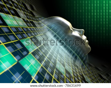 Human head emerging from an abstract plane in cyberspace. Digital illustration. - stock photo
