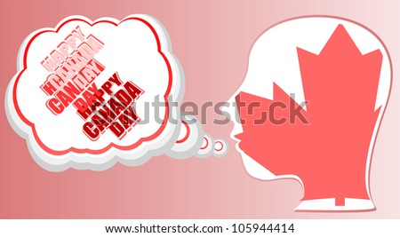 human head in canada flag and speech bubble - happy canada day - raster