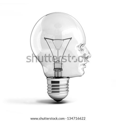 human head light bulb 3d illustration