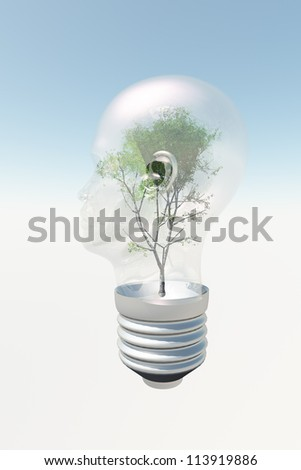 Human head light bulb with tree contained therein