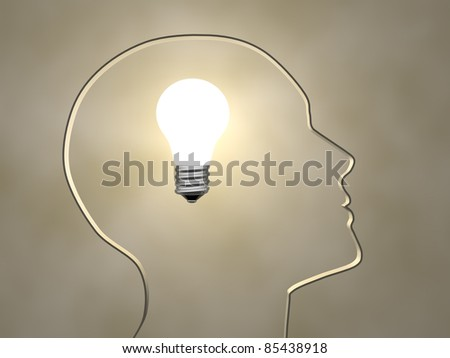 Human head profile with a light bulb - 3d render illustration