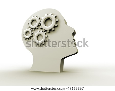 Human head profile with gears - 3d render