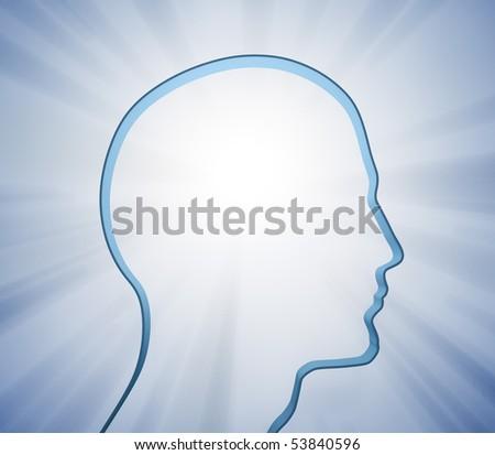 Human head silhouette - stock photo