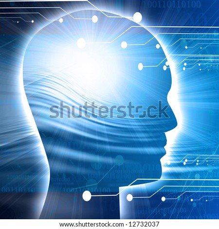 Human head silhouette with technology elements