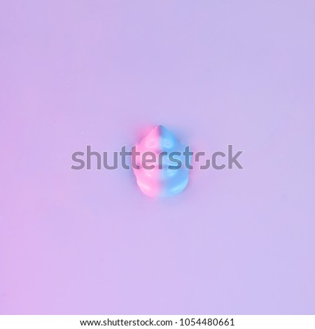 Human head submerged in water. Neon pink and purple colors. Ultra violet concept. #1054480661