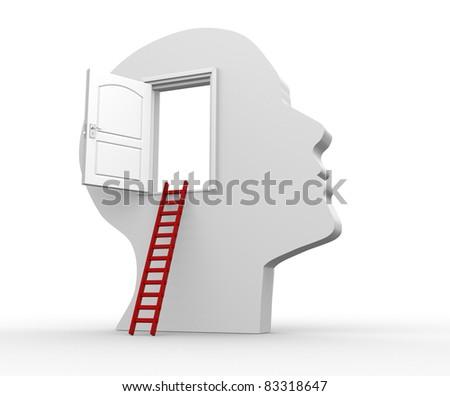 Human head with an open door - 3d render illustration