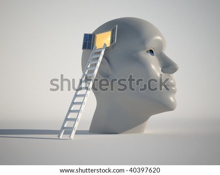 Human head with an open window and a stair - 3d render - stock photo