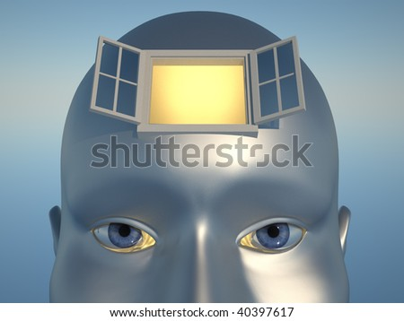 Human head with an open window - 3d render