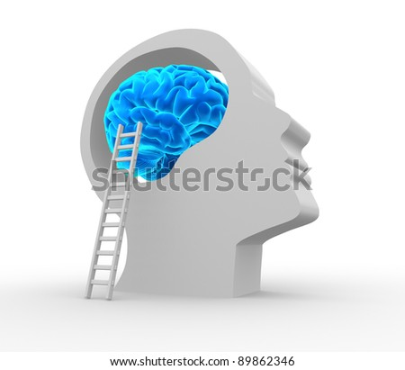 Human head with brain and ladder. 3d render illustration