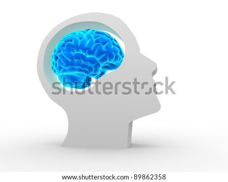 Human head with brain. 3d render illustration