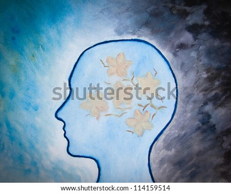 human head with flowers on dark blue background, watercolor painting