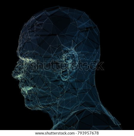 Human head with in 3d space network. Blue abstract futuristic medicine, science and technology background illustration. 3D rendering