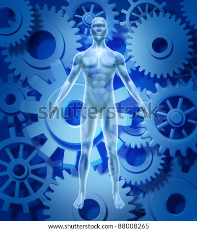 Human health and biology symbol with gears and cogs for a medical healthcare concept of healthy organ function of the body and mind free of disease and illness due to pharmaceutical medicine cures.