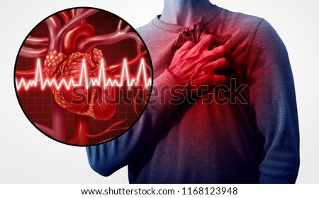 Human heart attack pain as an anatomy medical disease concept with a person suffering from a cardiac illness as a painful coronary event with 3D illustration style elements.