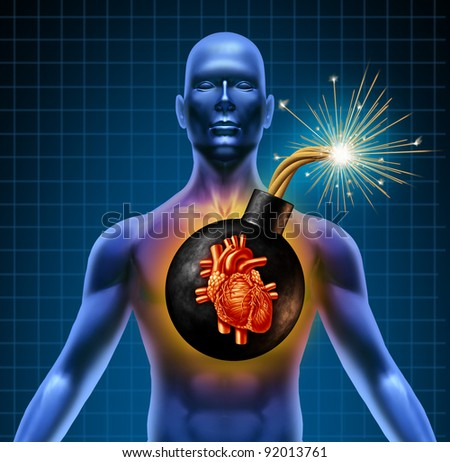 Human heart attack time bomb as a symbol of urgent health problems due to poor cholesterol levels and bad diet eating fatty greasy junk food.