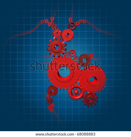 human heart function valves gears medical symbol blood flow pumping coronary circulation
