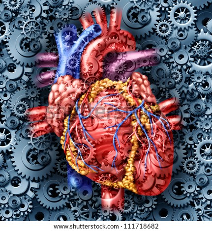 Human heart health medical care symbol with gears and cogs connected together pumping blood representing the function of a healthy organ and anatomy.