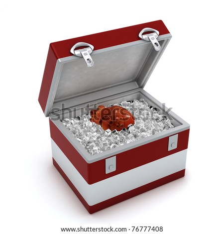 Human heart in ice box isolated on white background