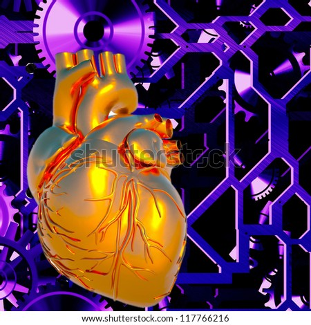 Human heart model in abstract backdrop