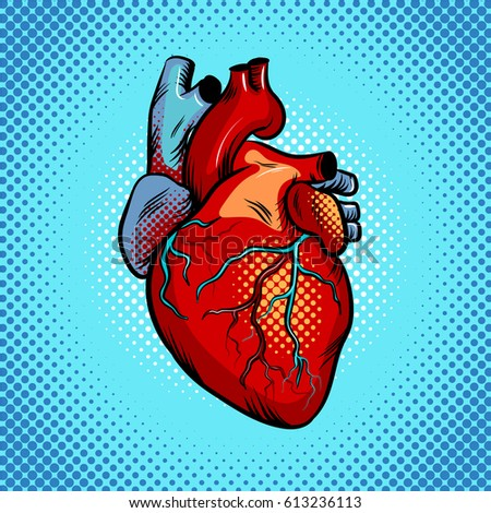 Human heart pop art retro raster illustration. Comic book style imitation.