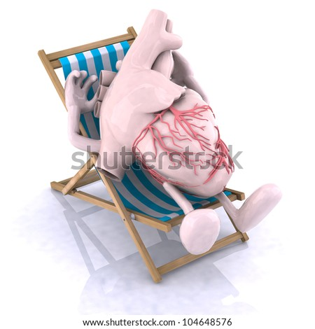 human heart with arms and legs relaxes in a beach chair