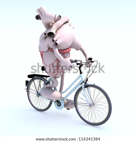 human heart with arms and legs riding a bycicle, 3d illustration