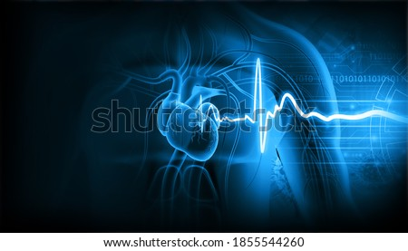 Human heart with ecg graph. 3d illustration Photo stock ©