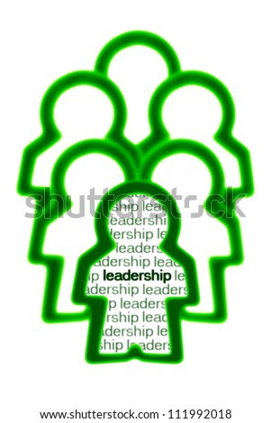 Human Icon Leading a Group - Green Leadership Concept