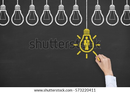 Human Idea Concepts Drawing on Blackboard #573220411