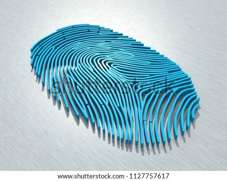 Human identification system based on biometric fingerprints. 3D fingerprint scan for secure access. 3D rendering.